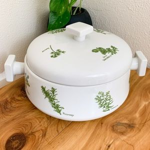 Herb Garden Casserole Dish, Vintage Kitchen Decor